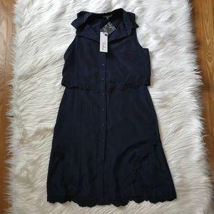 Parker Navy Overlay Lace Detail Shirt Dress